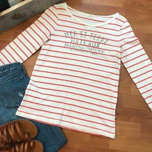 J. Crew Vintage Cotton T-Shirt, Striped Top Size S